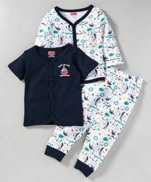 Babyhug Full & Half Sleeves Cotton Top And Pajama Ship Print - White & Navy