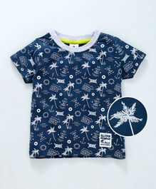 Ollypop Half Sleeves Tee Beach Print - Navy Blue