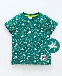 Ollypop Half Sleeves Tee Beach Print - Green