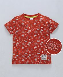 Ollypop Half Sleeves Tee Beach Print - Red
