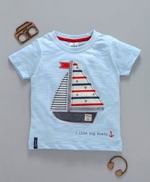 Ollypop Half Sleeves Tee Boat Patch - Light Blue