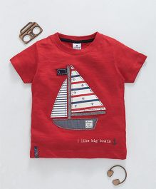 Ollypop Half Sleeves Tee Boat Patch - Red
