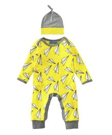 Pre Order - Awabox Paper Plane Print Full Sleeves Romper With Cap - Yellow