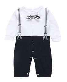 Pre Order - Awabox Bow Applique Full Sleeves Romper - Navy Blue