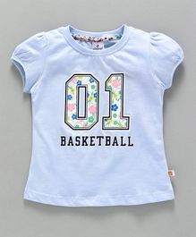 Ollypop Half Sleeves Top 01 Basketball Print - Light Blue