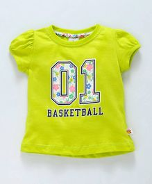 Ollypop Half Sleeves Top 01 Basketball Print - Green