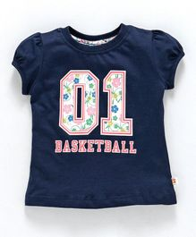 Ollypop Half Sleeves Top 01 Basketball Print - Dark Blue