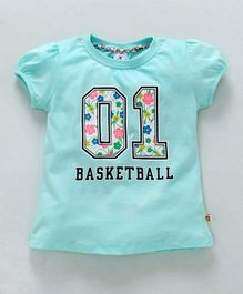 Ollypop Half Sleeves Top 01 Basketball Print - Turquoise Green