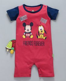 Bodycare Half Sleeves Romper Mickey Mouse & Pluto Print - Red Navy Blue