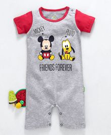 Bodycare Half Sleeves Romper Mickey Mouse & Pluto Print - Light Grey Red