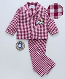 Knitting Doodles Full Sleeves Checkered Happy Patch Work Night Suit - Dark Pink