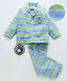 Knitting Doodles Full Sleeves Dobby Print Broad Striped Night Suit - Blue
