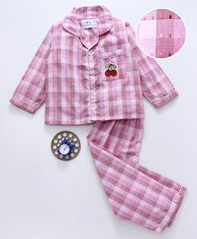Knitting Doodles Full Sleeves Checkered Cherry Patch Work Night Suit - Pink