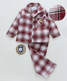 Knitting Doodles Full Sleeves Checkered Ice Cream Patch Work Night Suit - Maroon