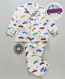 Knitting Doodles Full Sleeves Cars Print Night Suit - White
