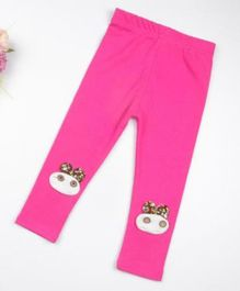 Pre Order - Wonderland Animal Applique Full Length Leggings - Dark Pink
