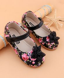 Cute Walk by Babyhug Floral Print Bellies With Flower Applique - Yellow