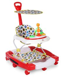 Musical Walker Cum Rocker With Canopy - Red White
