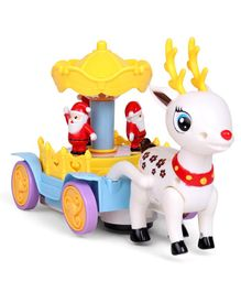 Musical Reindeer With Mini Santa Claus Toy - Yellow