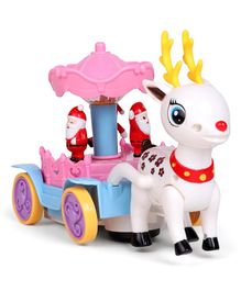 Musical Reindeer With Mini Santa Claus Toy - Pink