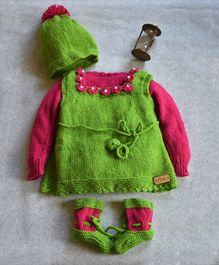 The Original Knit Flower Dress With Inner Sweater Cap & Booties - Pink & Green