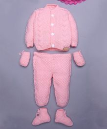 The Original Knit Plan Soild Sweater Set With Cap Bottom & Booties - Baby Pink