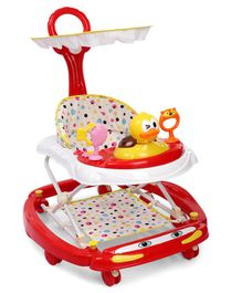 Musical Baby Walker Cum Rocker With Canopy - Red
