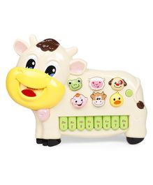 Musical Cow Shape Piano - White Yellow