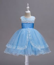 Pre Order - Awabox Lace Applique Sleeveless Dress - Blue