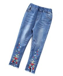Pre Order - Awabox Flower Embroidered Full Length Jeans - Blue