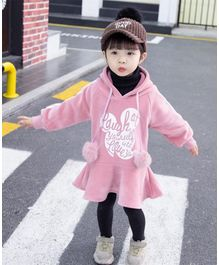 Pre Order - Awabox Full Sleeves Words Design Hooded Dress - Pink