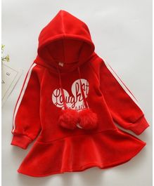 Pre Order - Awabox Full Sleeves Words Design Hooded Dress - Red