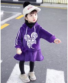 Pre Order - Awabox Full Sleeves Words Design Hooded Dress - Purple