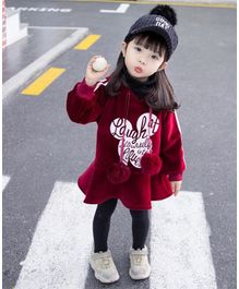 Pre Order - Awabox Full Sleeves Words Design Hooded Dress - Maroon