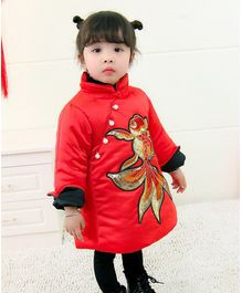 Pre Order - Awabox Dragon Applique Full Sleeves Dress - Red