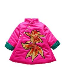 Pre Order - Awabox Dragon Applique Full Sleeves Dress - Pink