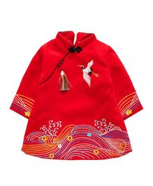 Pre Order - Awabox Bird Embroidered Full Sleeves Dress - Red