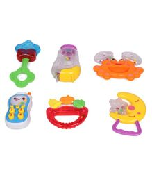Animal Shape Baby Rattles Pack of 6 - Multi Colour