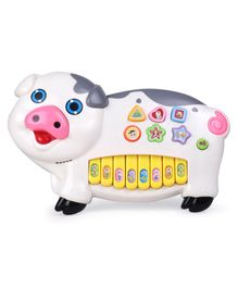 Piggy Shaped Musical Piano Toy - White