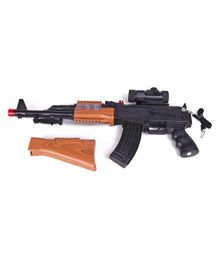Battery Operated Gun With Vibration & Sound Black Brown - Length 60 cm