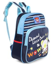 School Bag Stripes & Animal Print Navy Blue - Height 13 inches