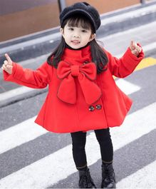 Pre Order - Awabox Big Bow Applique Full Sleeves Coat - Red
