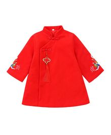 Pre Order - Awabox Full Embroidered Sleeves Stand Collar Neck Dress - Red