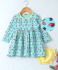 Babyhug Full Sleeves Cotton Frock With Bloomer Bees Print - Aqua Blue