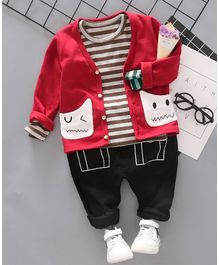 Pre Order - Awabox Striped Tee With Full Sleeves Jacket & Bottom Set - Red