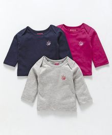 Babyhug Full Sleeves Tee Bee Print Pack of 3 - Pink Navy Grey