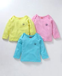 Babyhug Full Sleeves Tee Bee Print Pack of 3 - Pink Blue Yellow