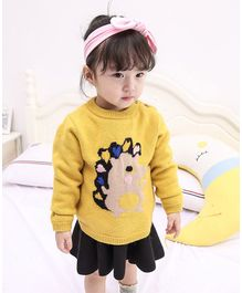 Pre Order - Awabox Porcupine Design Full Sleeves Shoulder Button Closure Sweater - Yellow