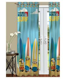 Athom Trendz Minions Kids Window Curtain Pack of 2 - Blue