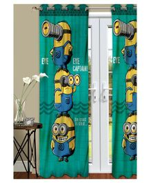 Athom Trendz Minions Kids Long Door Curtain Pack of 2 - Green
